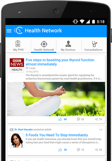Health Network on ContinuousCare mobile app